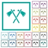 Two tomahawks flat color icons with quadrant frames - Two tomahawks flat color icons with quadrant frames on white background