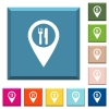 Restaurant GPS map location white icons on edged square buttons - Restaurant GPS map location white icons on edged square buttons in various trendy colors