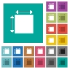 Elemet dimensions multi colored flat icons on plain square backgrounds. Included white and darker icon variations for hover or active effects. - Elemet dimensions square flat multi colored icons