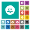 24 hours seven service sticker square flat multi colored icons - 24 hours seven service sticker multi colored flat icons on plain square backgrounds. Included white and darker icon variations for hover or active effects.
