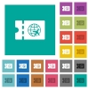 World travel discount coupon square flat multi colored icons - World travel discount coupon multi colored flat icons on plain square backgrounds. Included white and darker icon variations for hover or active effects.