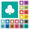 Club card symbol square flat multi colored icons - Club card symbol multi colored flat icons on plain square backgrounds. Included white and darker icon variations for hover or active effects.
