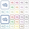 More banknotes with portrait color flat icons in rounded square frames. Thin and thick versions included. - More banknotes with portrait outlined flat color icons