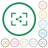 Camera share image flat icons with outlines - Camera share image flat color icons in round outlines on white background