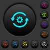 Refresh settings dark push buttons with color icons - Refresh settings dark push buttons with vivid color icons on dark grey background