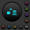 Money withdrawal from bank dark push buttons with color icons - Money withdrawal from bank dark push buttons with vivid color icons on dark grey background