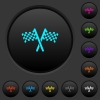 Two chequered flags dark push buttons with color icons - Two chequered flags dark push buttons with vivid color icons on dark grey background