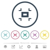 Small screen flat color icons in round outlines - Small screen flat color icons in round outlines. 6 bonus icons included.