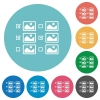 Multiple image selection with checkboxes flat round icons - Multiple image selection with checkboxes flat white icons on round color backgrounds