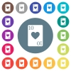 Ten of hearts card flat white icons on round color backgrounds - Ten of hearts card flat white icons on round color backgrounds. 17 background color variations are included.