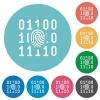 Digital fingerprint flat round icons - Digital fingerprint flat white icons on round color backgrounds