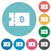 Bitcoin discount coupon flat round icons - Bitcoin discount coupon flat white icons on round color backgrounds