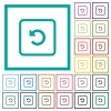 Rotate object left flat color icons with quadrant frames - Rotate object left flat color icons with quadrant frames on white background