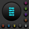 Fine tune dark push buttons with color icons - Fine tune dark push buttons with vivid color icons on dark grey background