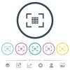 Camera sensor settings flat color icons in round outlines - Camera sensor settings flat color icons in round outlines. 6 bonus icons included.
