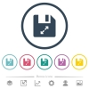 Uncompress file flat color icons in round outlines. 6 bonus icons included. - Uncompress file flat color icons in round outlines