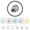 International transport flat color icons in round outlines. 6 bonus icons included. - International transport flat color icons in round outlines