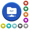 FTP put beveled buttons - FTP put round color beveled buttons with smooth surfaces and flat white icons