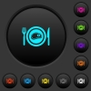 Steak for lunch dark push buttons with color icons - Steak for lunch dark push buttons with vivid color icons on dark grey background