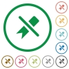 Untag flat icons with outlines - Untag flat color icons in round outlines on white background