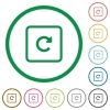 Rotate object right flat icons with outlines - Rotate object right flat color icons in round outlines on white background