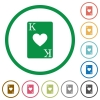 King of hearts card flat icons with outlines - King of hearts card flat color icons in round outlines on white background
