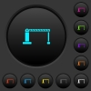Closed barrier dark push buttons with color icons - Closed barrier dark push buttons with vivid color icons on dark grey background