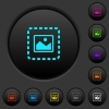 Place image dark push buttons with color icons - Place image dark push buttons with vivid color icons on dark grey background