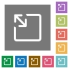 Resize object flat icons on simple color square backgrounds - Resize object square flat icons