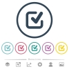 Checkmark flat color icons in round outlines. 6 bonus icons included. - Checkmark flat color icons in round outlines