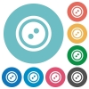 Dress button with 2 holes flat round icons - Dress button with 2 holes flat white icons on round color backgrounds
