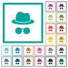 Incognito with glasses flat color icons with quadrant frames - Incognito with glasses flat color icons with quadrant frames on white background
