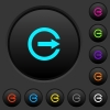 Export with inner arrow dark push buttons with color icons - Export with inner arrow dark push buttons with vivid color icons on dark grey background