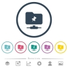 FTP pin flat color icons in round outlines - FTP pin flat color icons in round outlines. 6 bonus icons included.