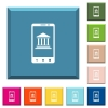 Mobile banking white icons on edged square buttons - Mobile banking white icons on edged square buttons in various trendy colors