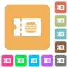 Fast food restaurant discount coupon rounded square flat icons - Fast food restaurant discount coupon flat icons on rounded square vivid color backgrounds.
