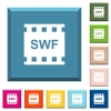 SWF movie format white icons on edged square buttons in various trendy colors - SWF movie format white icons on edged square buttons