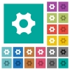 Single cogwheel multi colored flat icons on plain square backgrounds. Included white and darker icon variations for hover or active effects. - Single cogwheel square flat multi colored icons