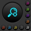 Cancel search dark push buttons with color icons - Cancel search dark push buttons with vivid color icons on dark grey background