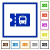 Public transport discount coupon flat framed icons - Public transport discount coupon flat color icons in square frames on white background