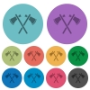 Two tomahawks color darker flat icons - Two tomahawks darker flat icons on color round background