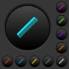 Simple comb dark push buttons with vivid color icons on dark grey background - Simple comb dark push buttons with color icons