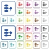 Flowchart outlined flat color icons - Flowchart color flat icons in rounded square frames. Thin and thick versions included.