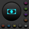 Single banknote dark push buttons with color icons - Single banknote dark push buttons with vivid color icons on dark grey background