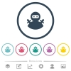 Ninja avatar flat color icons in round outlines. 6 bonus icons included. - Ninja avatar flat color icons in round outlines