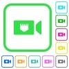 IP camera vivid colored flat icons - IP camera vivid colored flat icons in curved borders on white background