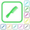 Comb with handle vivid colored flat icons in curved borders on white background - Comb with handle vivid colored flat icons