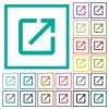 Launch application flat color icons with quadrant frames - Launch application flat color icons with quadrant frames on white background