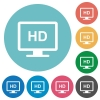 HD display flat round icons - HD display flat white icons on round color backgrounds