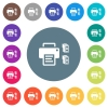 Printer and ink cartridges flat white icons on round color backgrounds - Printer and ink cartridges flat white icons on round color backgrounds. 17 background color variations are included.
